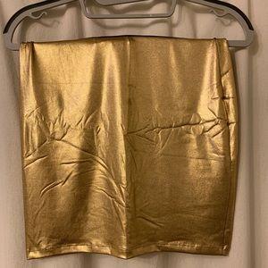 Gold mini skirt / tube top